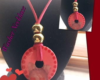 Animal Stamped Washer Necklace/ Hand Painted/ Washer/ Choker