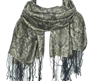 Mulberry Silk Scarf Jacquard New Long Women's Shawls Ladies Stoles Girls Wraps Shawls Gift For Her Made In Kashmir/ KF00000095 - KASHFAB