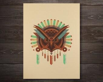 Geometric Owl Screen Print