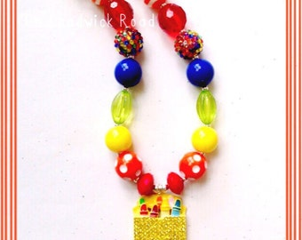 Colorful Crayon Pendant Chunky Necklace