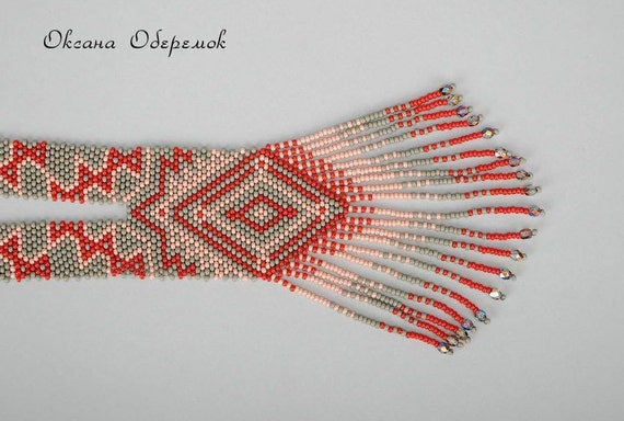 Ukrainian necklace Beaded necklace Long necklace Red necklace gray