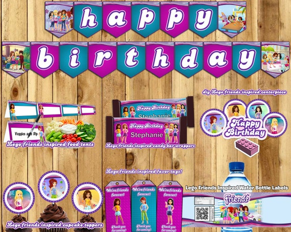 DIY Lego Friends Inspired Birthday Party Kit Banner Invite Cupcake Toppers Favor Tags Centerpiece Bottle Labels Food Tents Lego Friends Pack