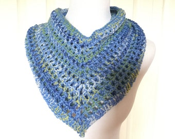 Crochet pointed scarf, light blue wool scarf, merino wool scarf