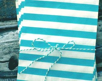 Light Blue Stripe Paper Treat Bags - (12 pcs) - TBSTP-LB