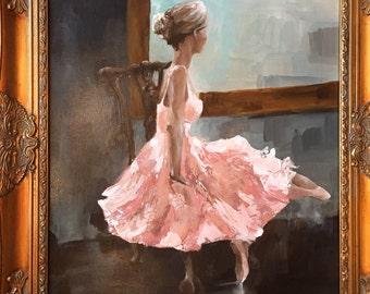 Adult ballerina acryllic painting sitting