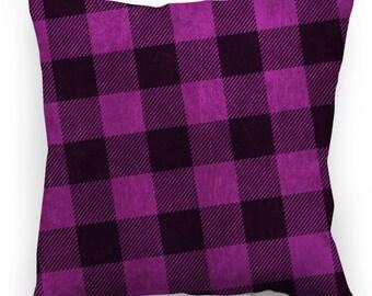 "Plaid Purple Throw Pillow 20x20"""