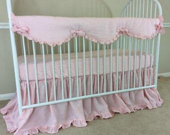 Pink Rail Cover, Pink Linen Rail Guard, Linen Baby Bedding, baby girl bedding