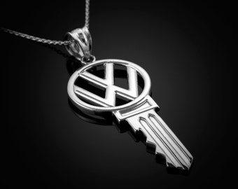 Polished Sterling Silver Vintage VW Volkswagen Key Pendant Necklace