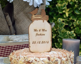 Mason Jar with Birds Wedding Cake Topper Personalized with Date
