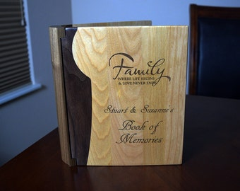 Personalized Family or Baby Book of Memories Photo Album in Walnut and Maple or Rosewood and Maple