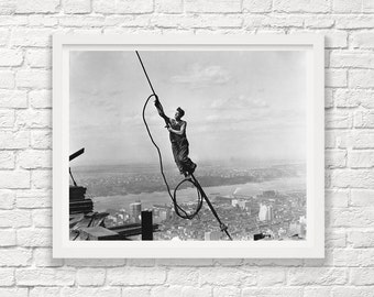 Constructing the Empire State Building - Lewis Hine - 1930 - Icarus - New York City - Vintage NEw York City - Photograph - Art Photograph