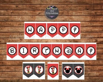 Printable banner, happy birthday, red, Minnie mouse, party, banner, instant download, digital, polka dots, black, girly, jpg, pennant