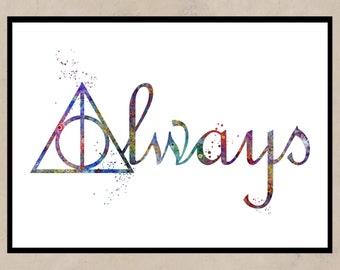 Harry Potter, Deathly Hallows Always, Watercolor print, Deathly Hallows Symbol, Deathly Hallows, Art, Instant Download
