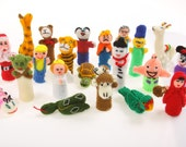 5 Hand Knitted Finger Puppets Puppets Stocking Fillers