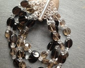 Four-Strand Smoky Quartz and Crystal Bracelet with Sterling Silver Slide Clasp