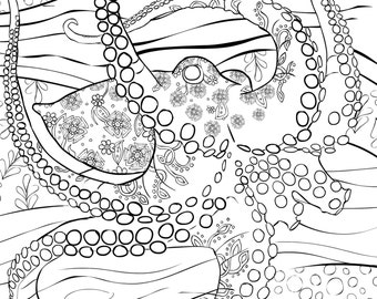 octopus coloring page for adults - items similar to printable zendoodle color pages 3