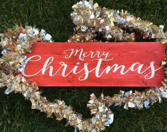 Merry Christmas Red Stained Sign