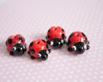 Ladybird Beads - Handmade Lampwork Glass Ladybirds - Ladybug Beads - Artisan Animal Beads - UK Handmade - Red - Polkadot Beads - Ladybird