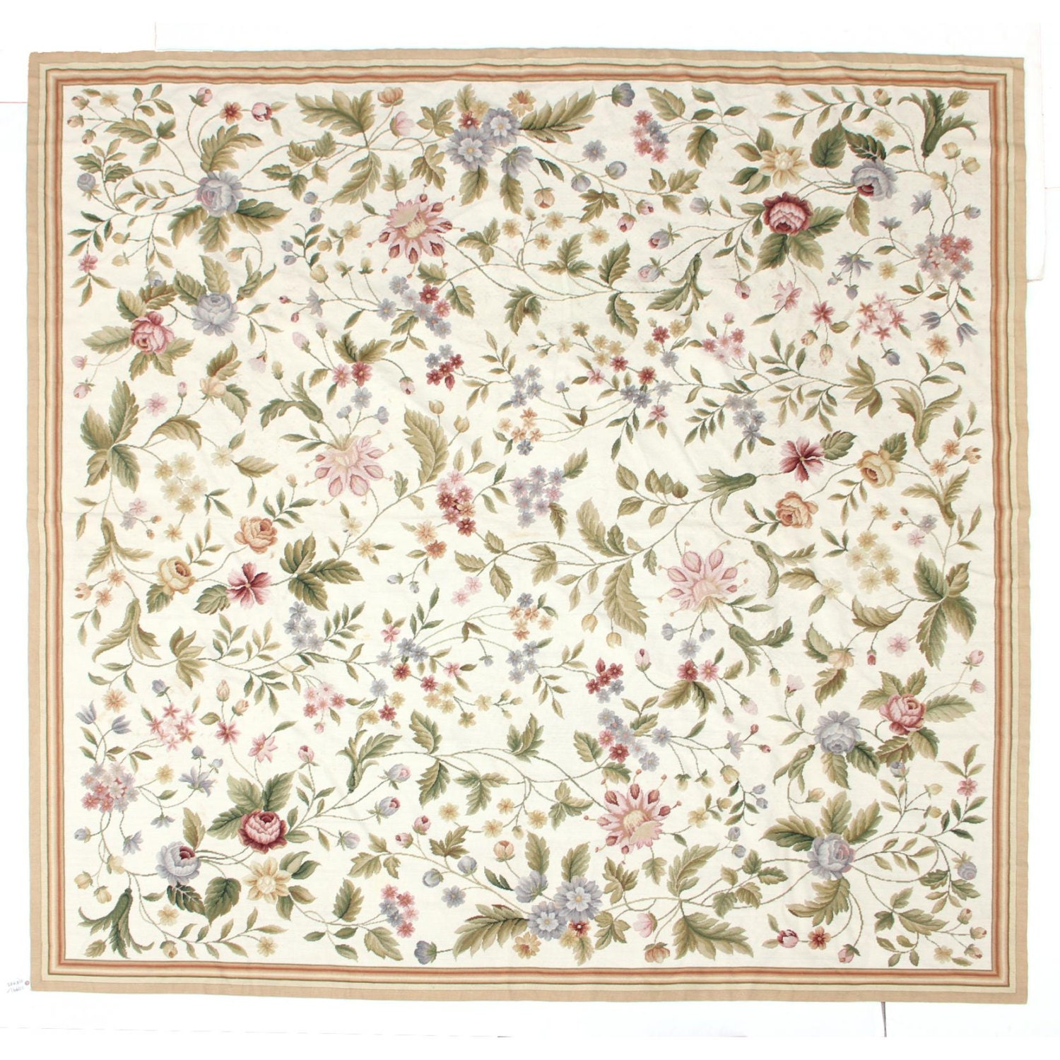 Vintage Estate Hand Stitched French Needlepoint Area Rug