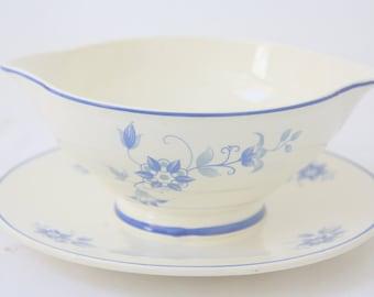 Vintage Société Ceramique Maestricht Sauce Bowl, Made in Holland, Blue Flower Decor