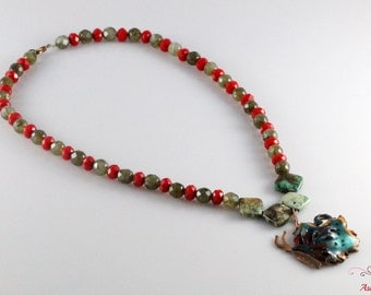 Handmade Necklace - Copper Base Enameled Pendant With Colorful Glass Beads