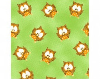 ABC 123 by Henry Glass - Owls on Green Background by the Half Yard