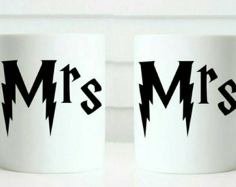 Mr and Mr - Mrs and Mrs same sex gift mug set in Harry Potter style writing