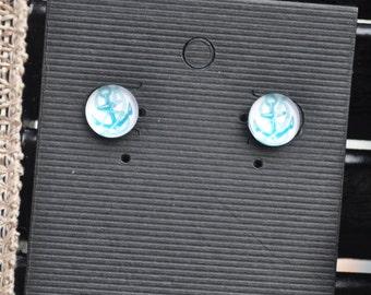 Handmade White and blue anchor stud earrings