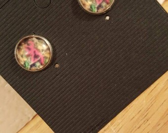 Handmade 12mm Camo and Pink Buck stud earrings