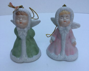 Vintage Giftco kissing angels Christmas decorations.