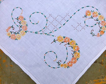 Hand Embroidered White Linen Table Cloth 87 x 83cm
