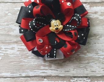 Mickey Mouse Hair Bows, Mickey Bows, Mickey Party,Red and Black Mickey Mouse Hair Bows,Mickey Mouse Birthday,Black and Red Mickey Hair bows.