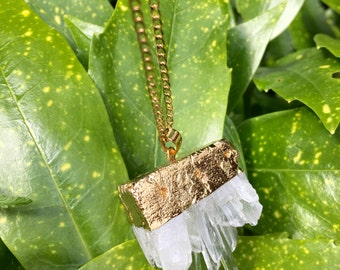 Clear quartz rock necklace