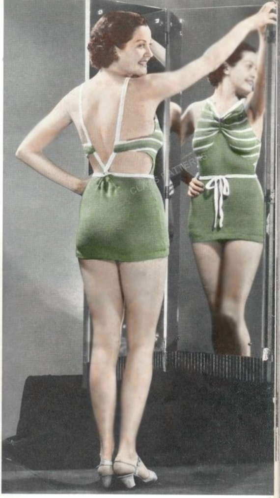 Items similar to knit bathing suit pattern,, vintage bathing suit pattern, vi...
