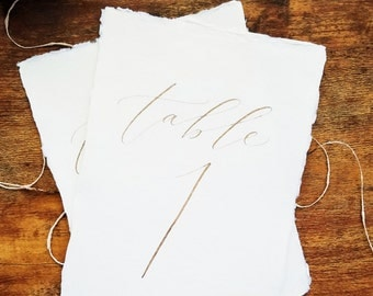 Romantic, modern calligraphy table cards / table numbers on handmade paper