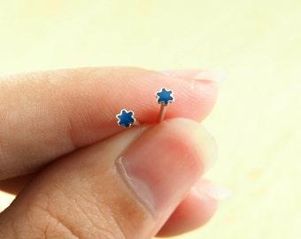 3 mm Tiny Blue Asterisk Stud Earrings, 925 Sterling Silver, Star earrings, Delicate Earrings - SA87