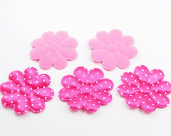 50 Pcs - 5 cm Pink Magenta Polka Dot Flower Floral Padded Applique - ERW.35