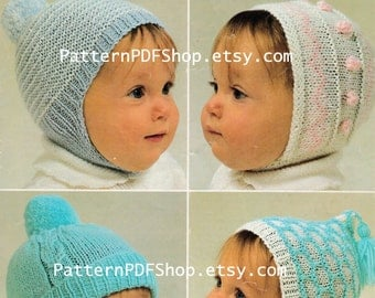 Vintage Knitted Knitting Knit FOUR BABY Hat Patterns PDF 121 from PatternPDFShop