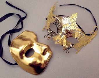 Phantom Gossip Girl Serena Gold couple masquerade mask pair  Mardi Gras costume Carnival