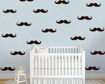 Mustache Wall Decals, Faux Wallpaper, Mustache Decals, Hipster Room Decals, Handlebar Mustache Decal, Mustache Theme Wallpaper