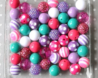 Bulk Pink, purple, teal chunky beads wholesale, 20mm Bubblegum beads 50 or 100 piece, Bulk acrylic beads for necklaces, Large plastic beads