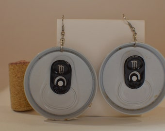 Earrings made from cap top of 'Monster Ultra Energy Drink'