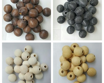 48 Pcs Round Wooden Beads 19 MM Available in 4 Colors