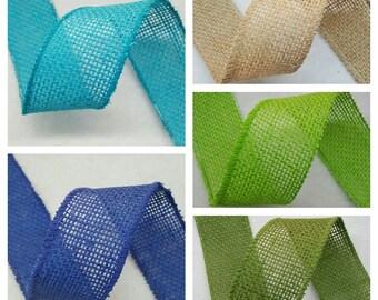 "2.5"" Burlap Ribbon - 5 Yds - Finished Edge Wired - 100% Natural Jute Burlap Ribbon - Craft Decor Burlap Rustic"