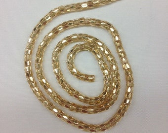 4 MM Light Gold Plated Round or Silver Plated Round Chain Gold Thick Texture Chain, Selling By Yard/ 36'' Long