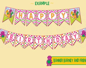 "Printable Banner ""Barney and Friends"" party (Instant download)"