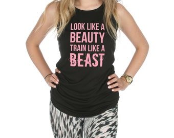 Look Like A Beauty Train Like A Beast Racerback Gym Vest Tank Top Activewear Gym Yoga Fitness Workout