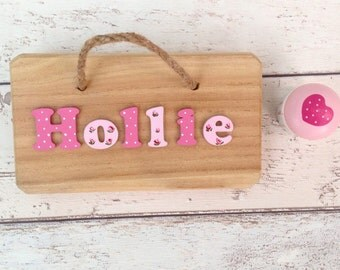 Wooden nursery sign etsy name sign for nursery personalised wooden name plaque new baby gift rose design negle Image collections