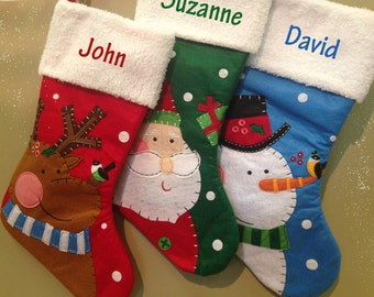 Christmas Stocking Personalized Embroidered Name Santa Snowman Reindeer