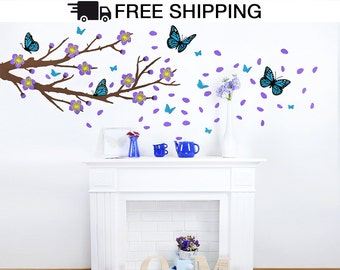 Monarch Butterflies Branch with Flowers Wall Decal Vinyl Wall Sticker, Butterfly Branch Wall Decal, Branch Wall Decal, Branches Wall Decal